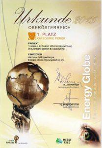 Urkunde Winner of Energy Globe
